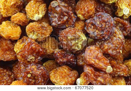 Backgroend of dried Cape gooseberries ((Physalis peruviana)