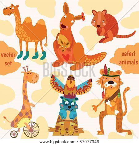 Safari Animals:quokka, Tiger, Camel, Giraffe, Kangaroo In Vector.