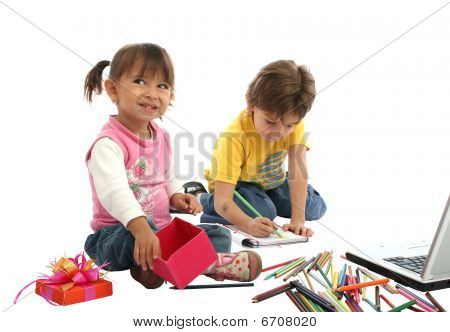 Childrens Students With Crayons And Computer