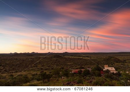 Namibian Farmland At Sunset