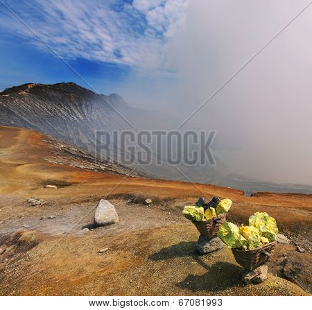sulfur mining industry in Ijen volcano, Java,Indonesia