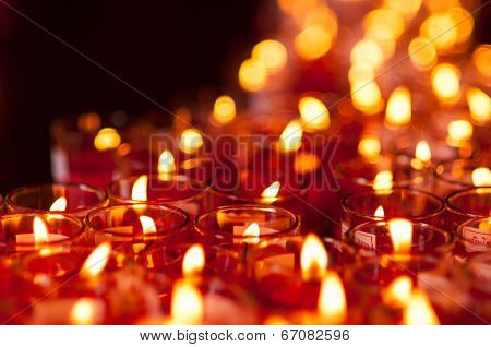Church Candles In Red Transparent Chandeliers