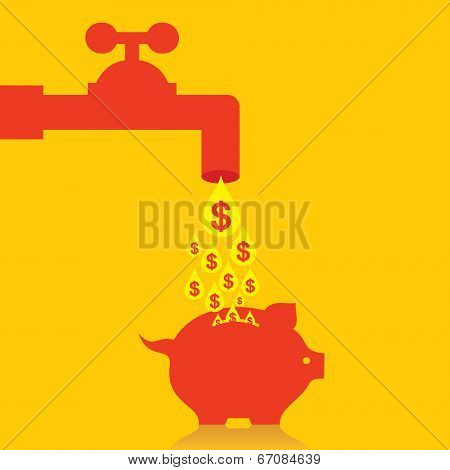 Collect money in piggy bank concept stock vector
