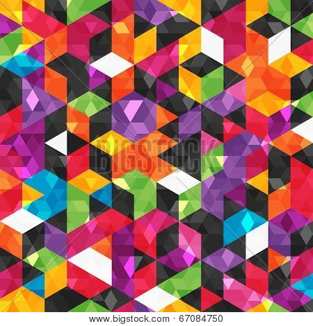 Colorful abstract pattern with geometric shapes.