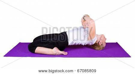 Woman Engaged In Yogic Exercises