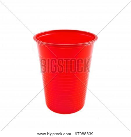 Plastic Red Cup On White Background