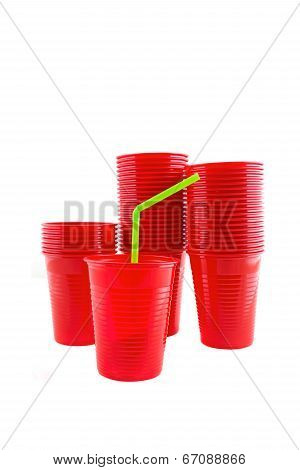 Plastic Red Cups On White Background