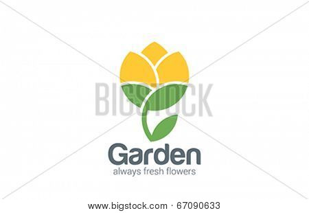 Flower abstract vector logo design. Creative garden icon. Flourish plant flat style.