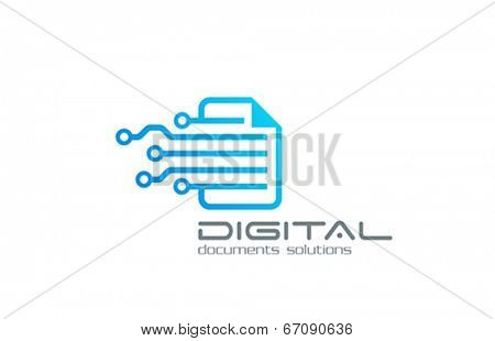 Business Technology vector logo design. Web solution circulation system. Digital document