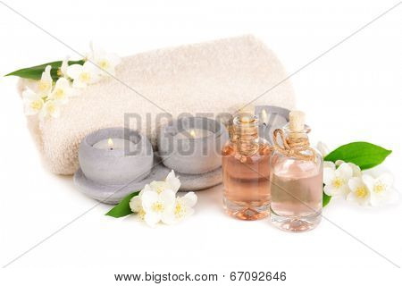 Spa composition with jasmine flowers isolated on white