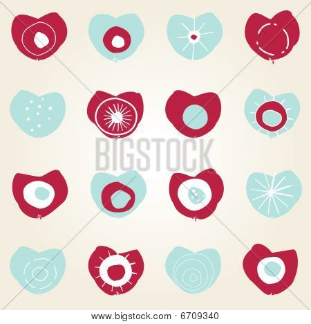valentine card design with pink and blue hearts