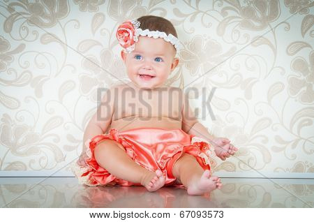 Fashionable Smiling Baby Girl In Pink Panties