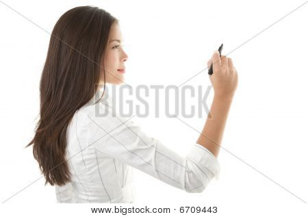 Businesswoman Writing On Copy Space