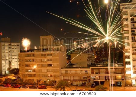 New Year Fireworks Celebration Over The City Of Montevideo