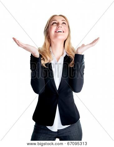 Happy excited business woman with raised hands and looking up waiting for inspiration, isolated on white background, good job concept