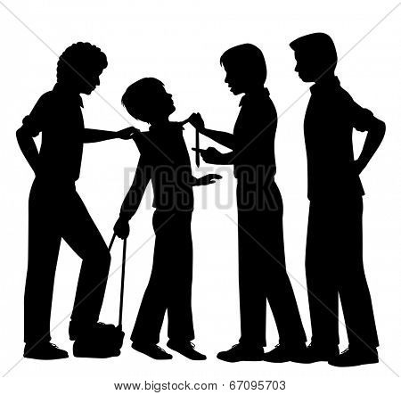 Editable vector silhouettes of older boys bullying a younger boy with all figures as separate objects