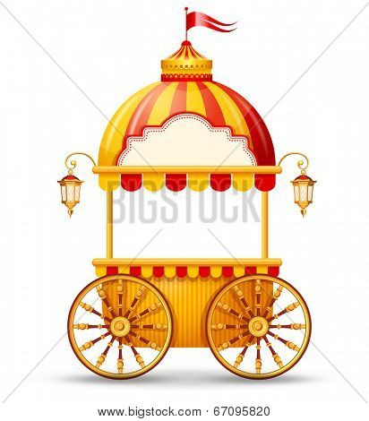 Brightly colored cart stall for fast food street trading. Vector illustration.