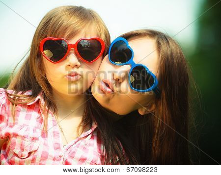 Summer. Mother And Kid In Sunglasses Making Funny Faces