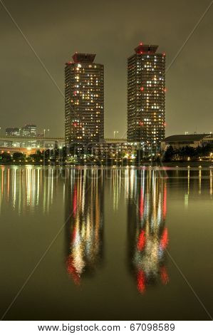 Daiba Towers Night Reflection