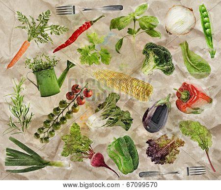 Fresh Raw Vegetarian Food Background