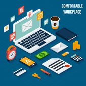 picture of workstation  - Workplace isometric elements set with notebook coffee cup document vector illustration - JPG