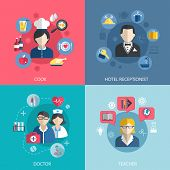 picture of receptionist  - People professions concept flat icons set of cook doctor hotel receptionist and school teacher jobs for infographics design web elements vector illustration - JPG