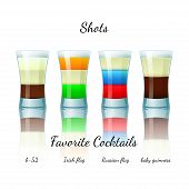 picture of irish flag  - Favorite shot cocktails set isolated - JPG