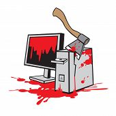 picture of ax  - Dead computer was killed with an ax covered in blood - JPG