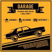 picture of auto garage  - Auto mechanic service retro style car garage poster vector illustration - JPG