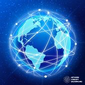 pic of node  - Network globe sphere earth map social  media concept vector illustration - JPG