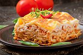 pic of carbohydrate  - Classic Lasagna with bolognese sauce on plate - JPG