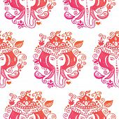 stock photo of ganesh  - Seamless india elephant lord ganesh hindu god illustration background pattern - JPG