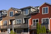 picture of row houses  - A row of neighborhood houses Gresham Oregon - JPG