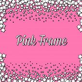 stock photo of kawaii  - Pink frame made of kawaii white stars - JPG