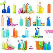 stock photo of sanitation  - cleaning and sanitation products studio collection isolated - JPG
