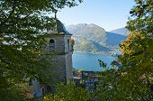 image of annecy  - Ermitage Saint Germain church cemetary and annecy lake in Savoy France - JPG