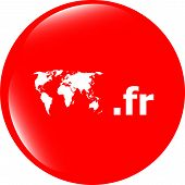 Постер, плакат: Domain Fr Sign Icon Top level Internet Domain Symbol With World Map
