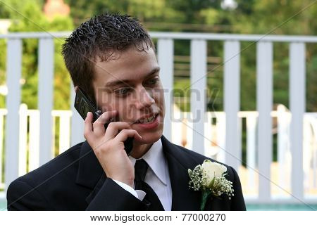 Relaxed Prom Boy On Phone Horizontal