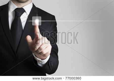 Businessman Pushing Touchscreen Button