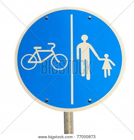 Bike and Pedestrian Road Sign Isolated