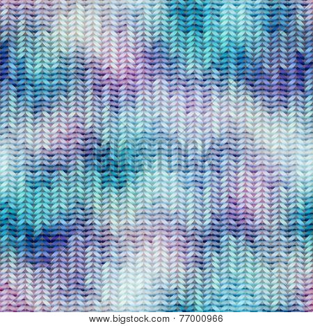 Blue knitted texture with chevrons