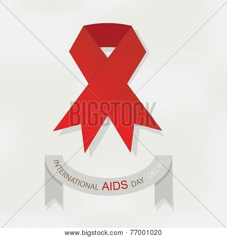 International World AIDS Day red ribbon poster