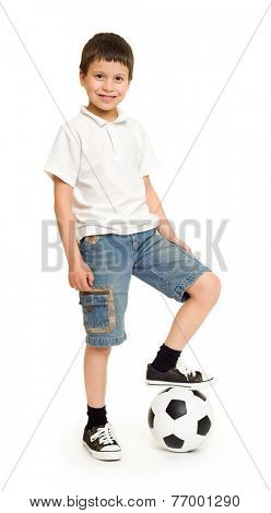 boy with soccer ball studio isolated