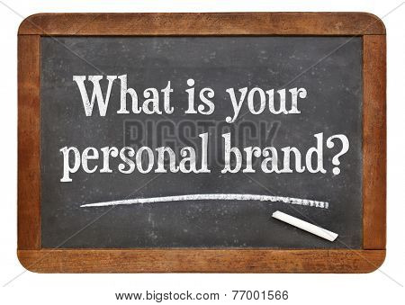 What is your personal brand  question on a vintage slate blackboard