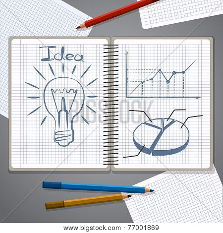 Notebook with pencil drawing chart and lightbulb