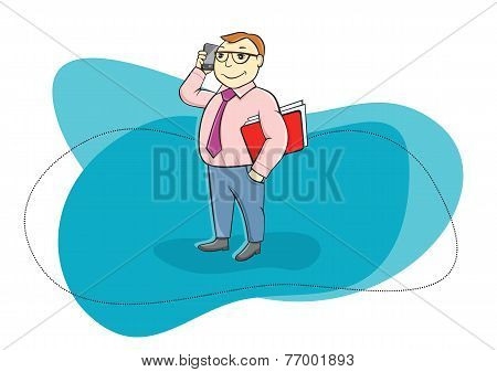 Happy businessman holding phone and talking
