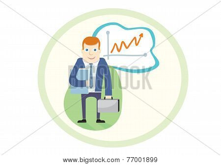 Business man standing pointing at chart