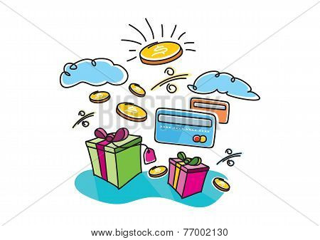 Boxes with gifts shopping interest payment cards