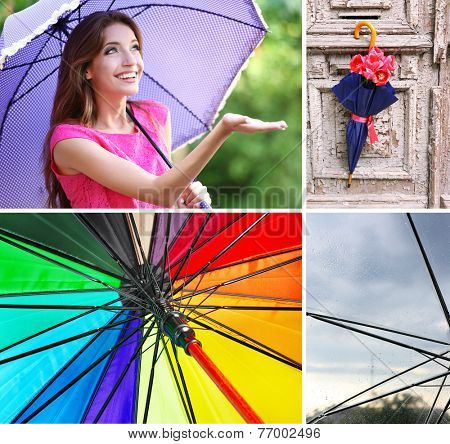 Umbrella concept. Beautiful young girl with umbrella collage