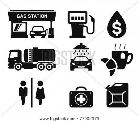 Gas station and Fuel pump icons set // 03